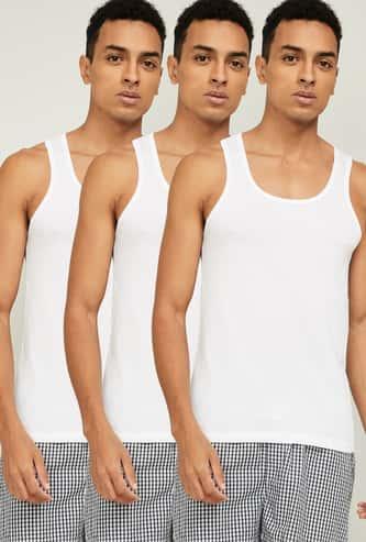 FAME FOREVER Men Solid Vests - Set Of 3