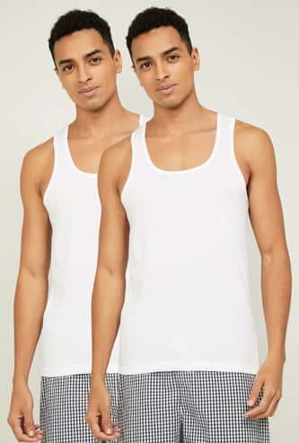 FAME FOREVER Men Solid Vests- Pack Of 2