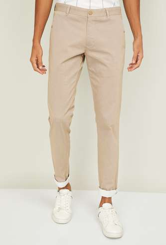 PARX Men Solid Slim Straight Casual Trousers