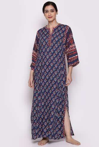 BIBA Women Printed Maxi Night Dress