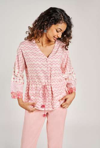 GLOBAL DESI Women Printed V-Neck Tunic
