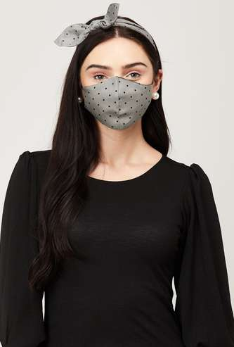 GINGER Women Printed Face Mask with a Hairband
