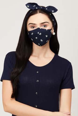 GINGER Women Printed Face Mask - Hairband Combo