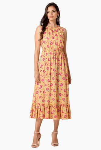 INDYA Women Floral Print Ethnic A-Line Dress