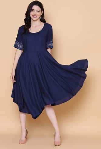 BIBA Women Solid A-Line Dress