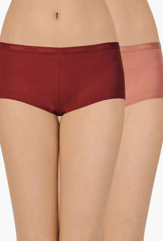 AMANTE Solid Hipster Panties- Pack of 2