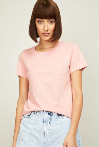 FAME FOREVER Women Solid T-Shirt
