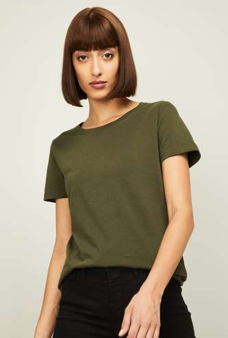 FAME FOREVER Women Solid Round Neck T-shirt