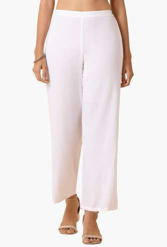 INDYA Women Solid Woven Straight Pants