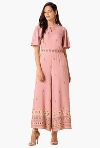 INDYA Women Printed Flutter Sleeves Jumpsuit
