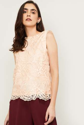 LATIN QUARTERS Women Embroidered Sleeveless Top