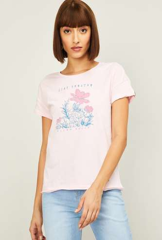 ALLEN SOLLY Women Printed Round Neck T-shirt