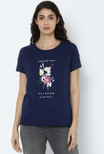 ALLEN SOLLY Women Round Neck T-shirt