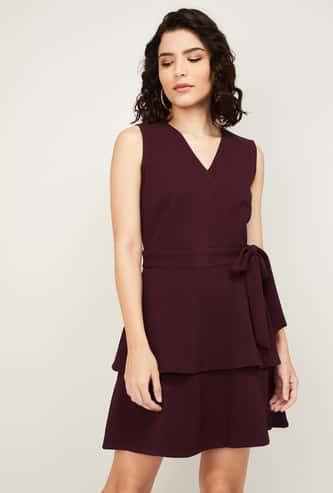 FABALLEY Women Solid Layered A-Line Dress