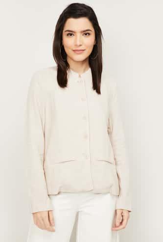 VAN HEUSEN Women Textured Full Sleeve Jacket
