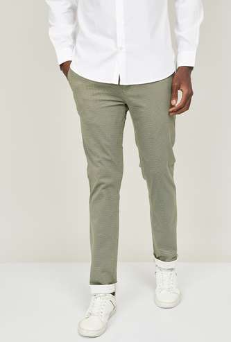 V DOT Men Textured Slim Tapered Casual Trousers