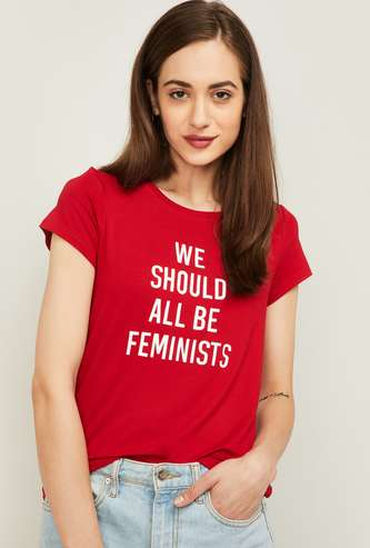 FAME FOREVER Women Typographic Print Round Neck T-shirt
