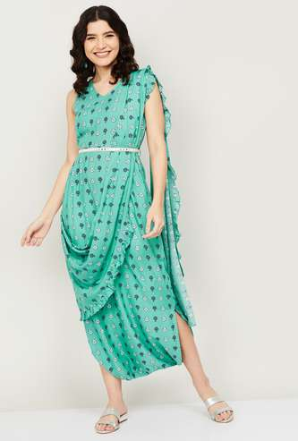 INDYA Women Printed Jumpsuit with Attached Dupatta