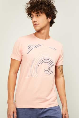 ALLEN SOLLY Men Printed Regular Fit Crew Neck T-shirt