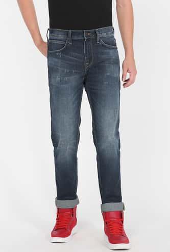 LEE Men Stonewashed Slim Straight Fit Jeans