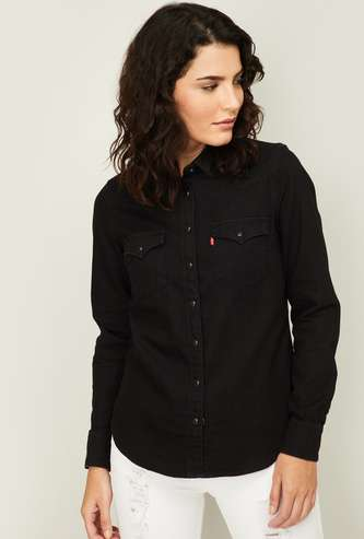 LEVI'S Women Medium Washed Regular Fit Denim Shirt