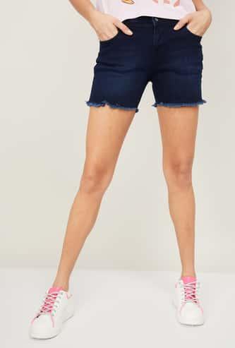 KRAUS Women Stonewashed Denim Shorts