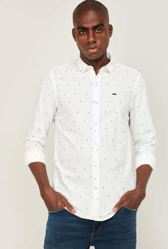 LEE Men Micro Ditsy Print Slim Fit Casual Shirt
