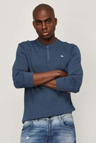 LEE Men Striped Slim Fit Henley T-shirt