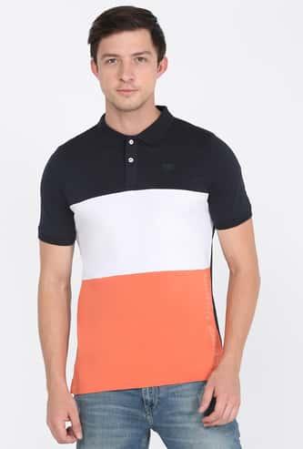 LEE Men Colourblocked Polo T-shirt