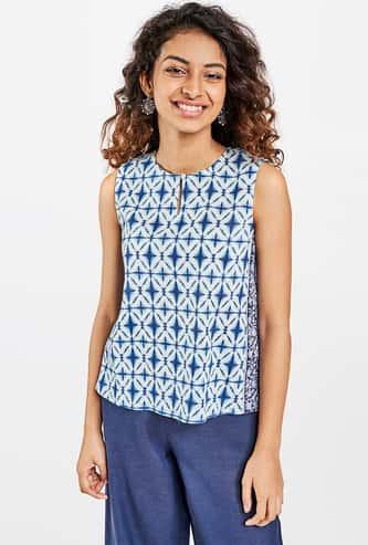 GLOBAL DESI Women Printed Sleeveless Ethnic Top