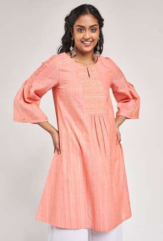 GLOBAL DESI Women Embroidered Shift Tunic