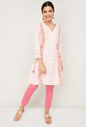 GLOBAL DESI Women Printed Three-Quarter Sleeves A-Line Tunic
