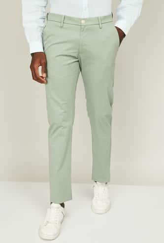 ALLEN SOLLY Men Solid Super Slim Fit Trousers
