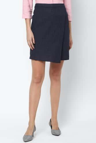 ALLEN SOLLY Women Checked Woven Skirt