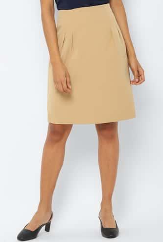 ALLEN SOLLY Women Solid Woven Skirt
