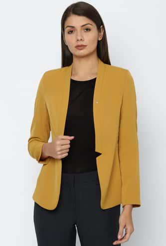 ALLEN SOLLY Women Solid Open Front Blazer