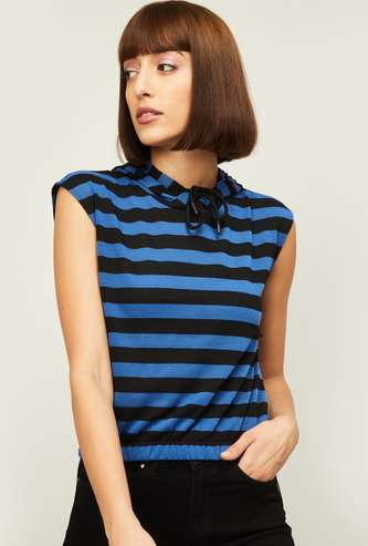 GINGER Women Striped Hooded Crop Top