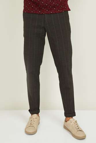 V DOT Men Checked Slim Tapered Fit Casual Trousers