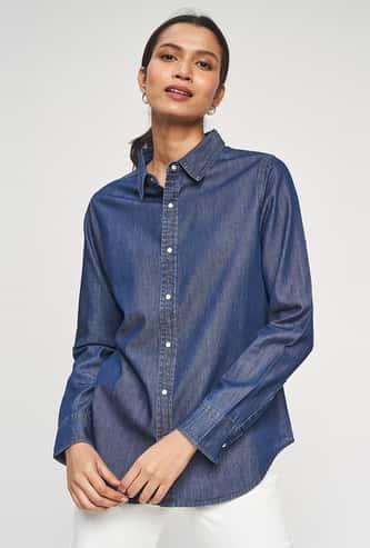 AND Women Shimmery Denim Shirt