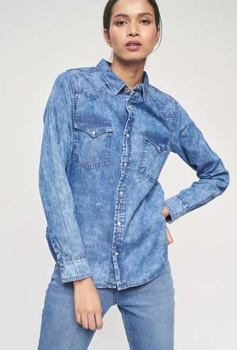 AND Women Denim Shirt with Full Sleeves