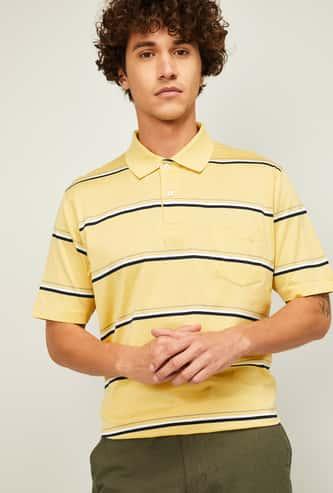COLORPLUS Men Striped Polo T-Shirt