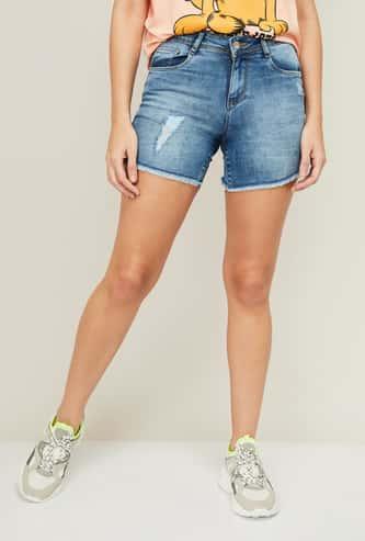KRAUS Women Faded Denim Shorts