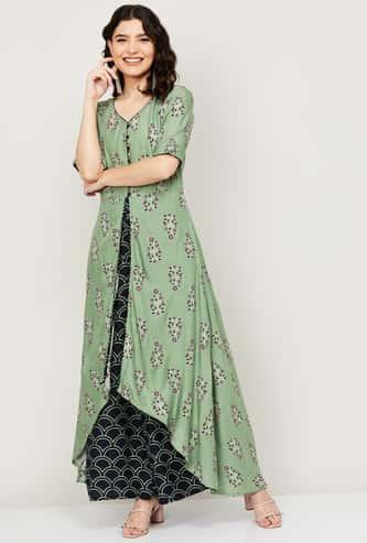INDYA Women Floral Print V-neck Layered Jumpsuit