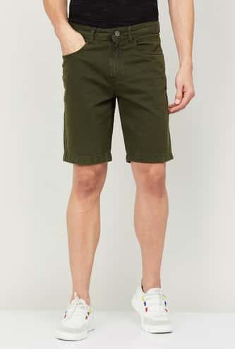 FORCA Men Solid Regular Fit Denim Shorts