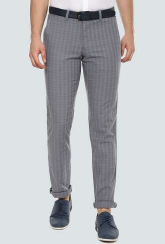 LP SPORT Men Checked Slim Tapered Casual Trousers