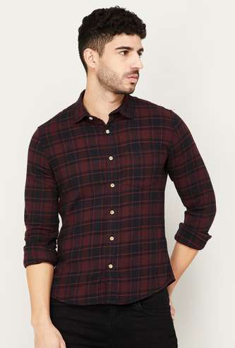 FORCA Men Checked Full Sleeves Casual Shirt