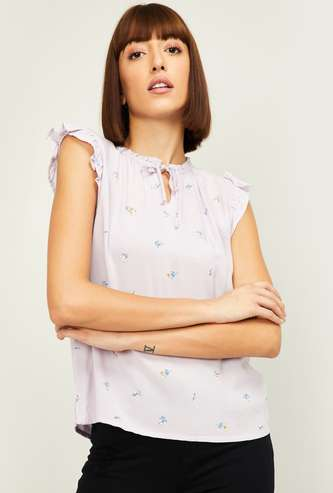LEVI'S Women Casual Printed Top with Ruffle Detail