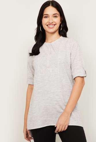 ALLEN SOLLY Women Solid Buttoned Tunic