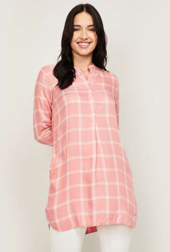 ALLEN SOLLY Women Checked Three-Quarter Sleeves Tunic