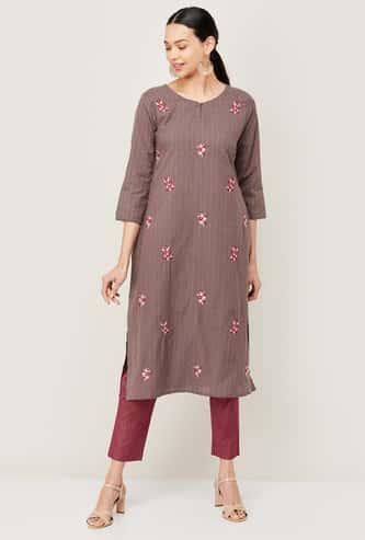 MELANGE Women Embroidered Straight Kurta
